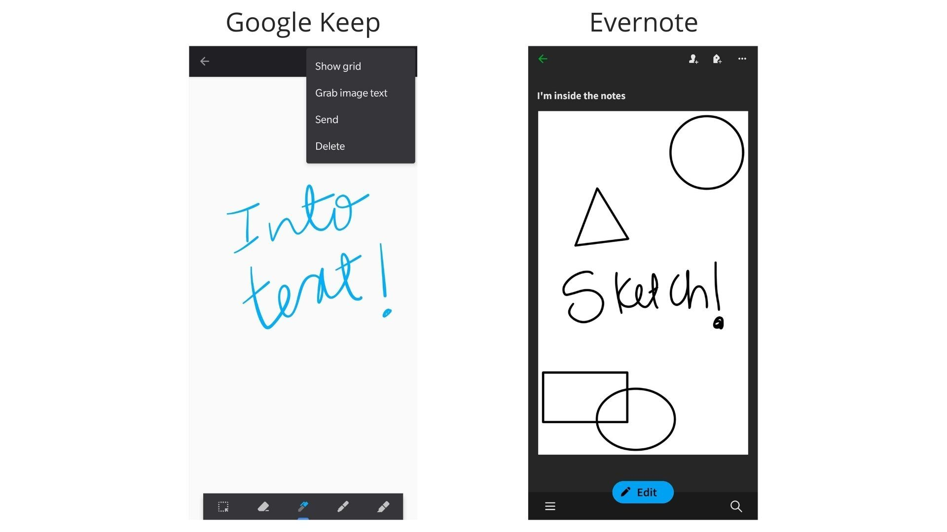 Google Keep and Evernote Comparison Sketch Draw Screenshots Android