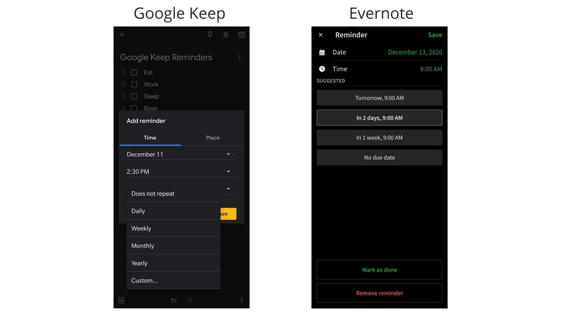 Android screenshots of Reminders on Google Keep and Evernote