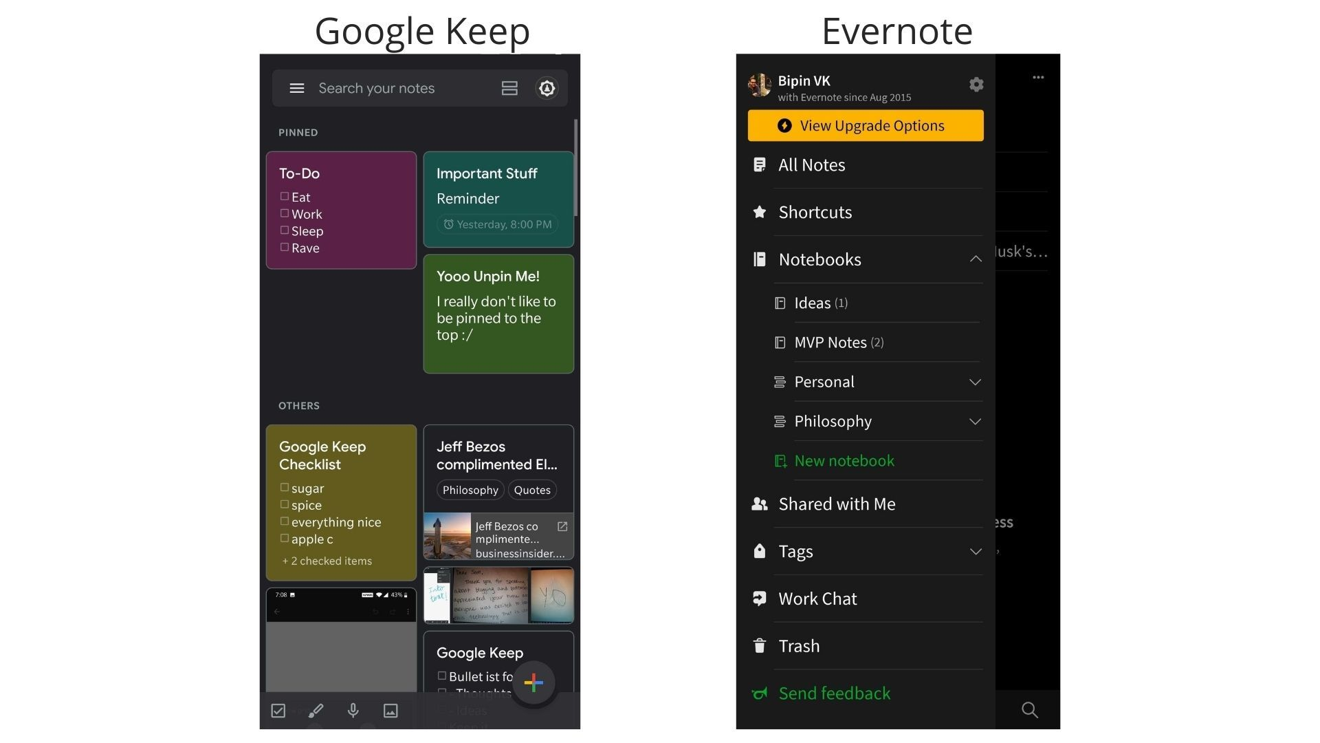Sample organization on Google Keep and Evernote