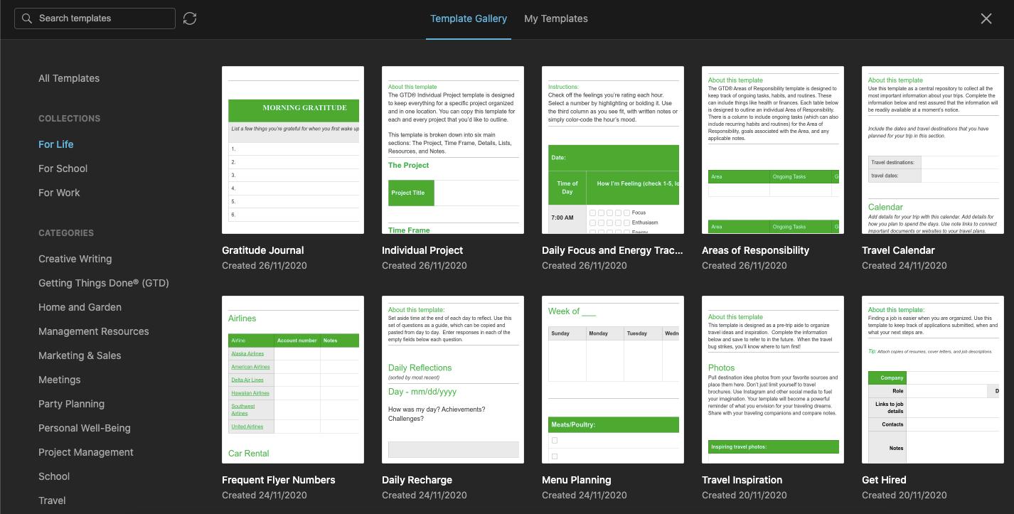 Evernote web app template gallery